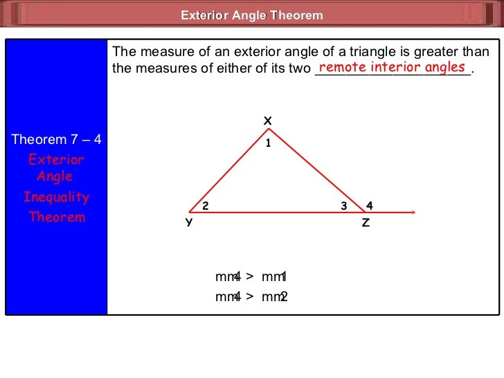 Triangle inequalities - The exterior angle of a triangle is equal to ...