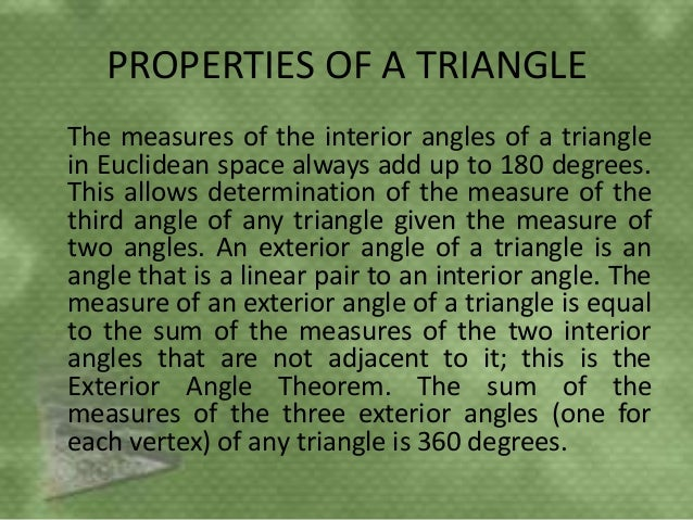 Triangle ppt - Measure of exterior angles of a triangle ...