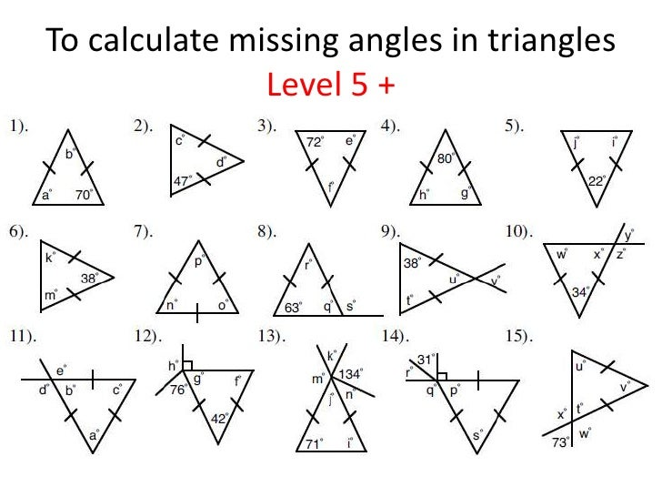 finding the missing angle of a triangle worksheet Termolak – Angles of a Triangle Worksheet
