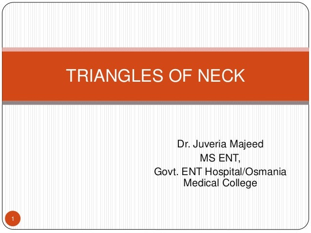 Dr. Juveria Majeed MS ENT, Govt. ENT Hospital/Osmania Medical College TRIANGLES OF NECK 1