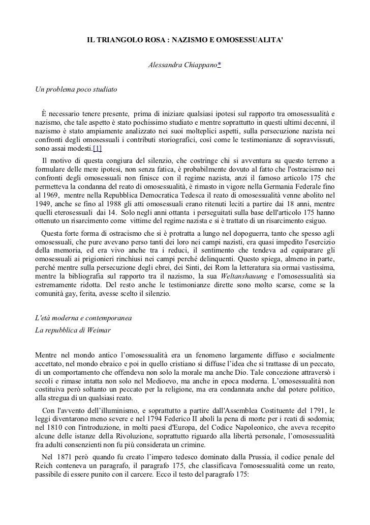 IL TRIANGOLO ROSA : NAZISMO E OMOSESSUALITA                                       Alessandra Chiappano*Un problema poco st...
