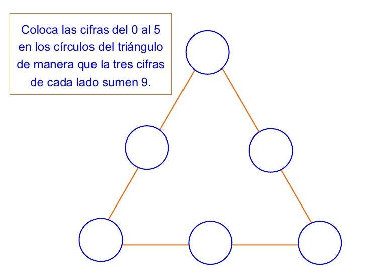 Coloca las cifras del 0 al 5 en los círculos del triángulo de manera que la tres cifras de cada lado sumen 9.