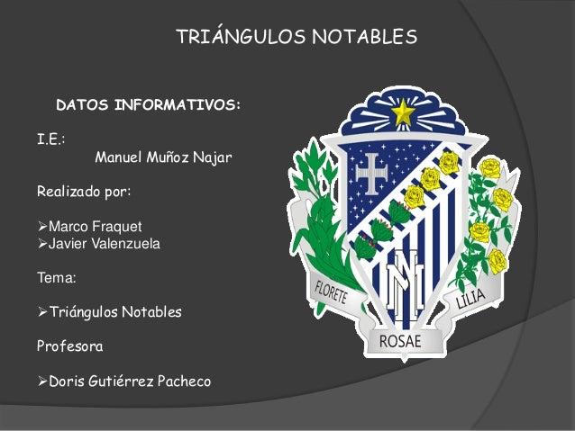 TRIÁNGULOS NOTABLES DATOS INFORMATIVOS: I.E.:  Manuel Muñoz Najar  Realizado por: Marco Fraquet Javier Valenzuela Tema: ...
