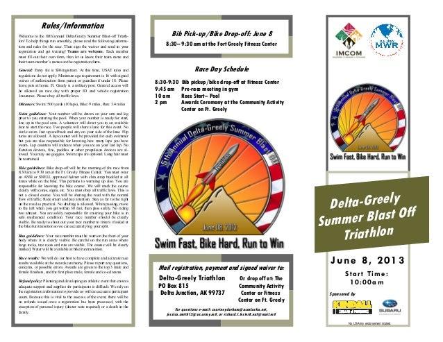 Delta-GreelySummer Blast OffTriathlonStar t Time:10:00amJune 8, 2013Rules/InformationBib Pick-up/Bike Drop-off: June 88:30...
