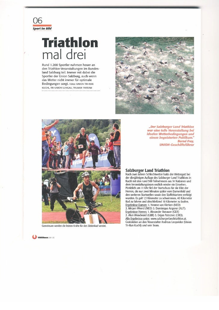 Presseclippings Triathlon in Salzburg
