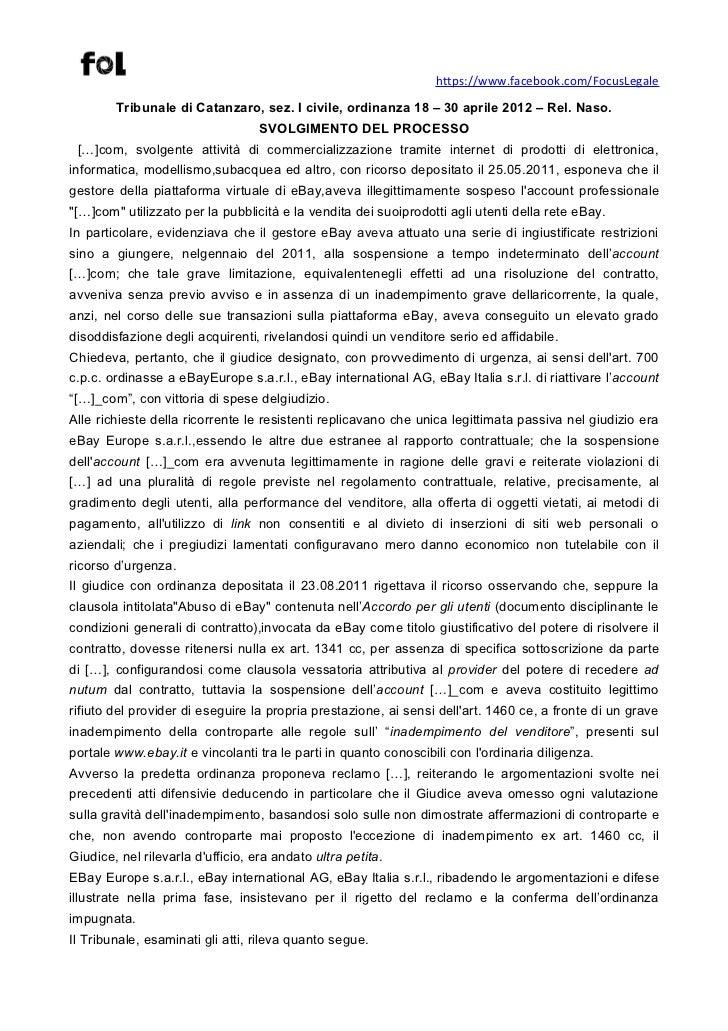 https://www.facebook.com/FocusLegale        Tribunale di Catanzaro, sez. I civile, ordinanza 18 – 30 aprile 2012 – Rel. Na...
