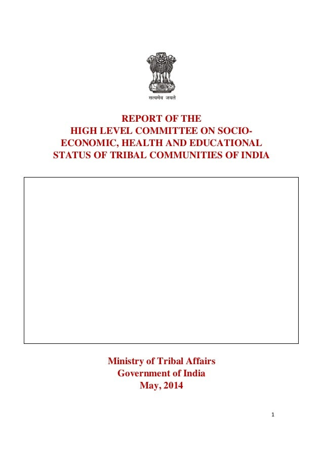 1 REPORT OF THE HIGH LEVEL COMMITTEE ON SOCIO- ECONOMIC, HEALTH AND EDUCATIONAL STATUS OF TRIBAL COMMUNITIES OF INDIA Mini...