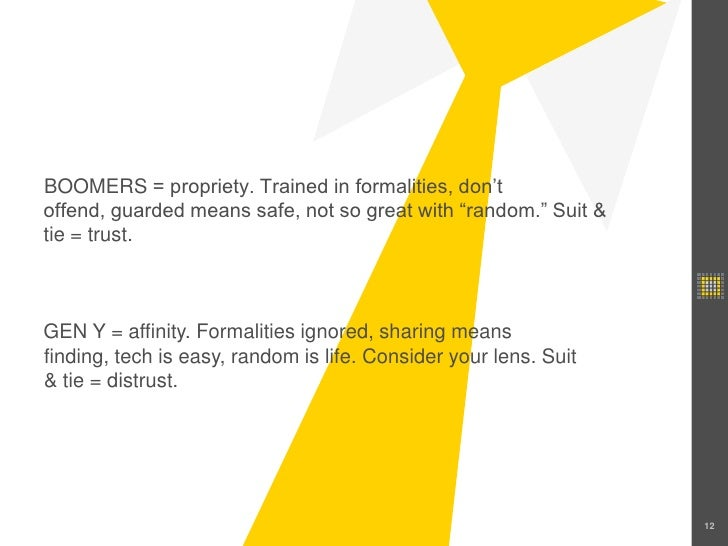 """12<br />BOOMERS = propriety. Trained in formalities, don't offend, guarded means safe, not so great with """"random."""" Suit & ..."""