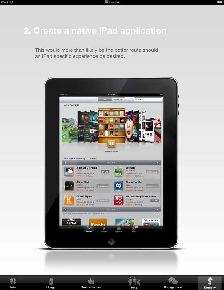 What to consider if building a native app for the iPad • Experience   • ROI
