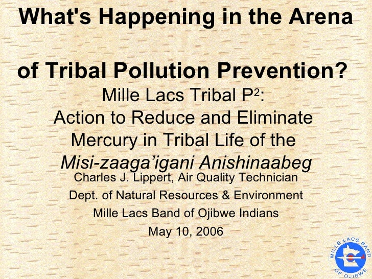 What's Happening in the Arena  of Tribal Pollution Prevention?   Mille Lacs Tribal P 2 :  Action to Reduce and Eliminate  ...