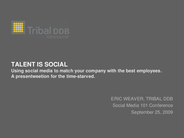 TALENT IS SOCIAL Using social media to match your company with the best employees. A presentweetion for the time-starved. ...