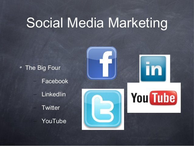 Social Media MarketingThe Big Four– Facebook– LinkedIin– Twitter– YouTube