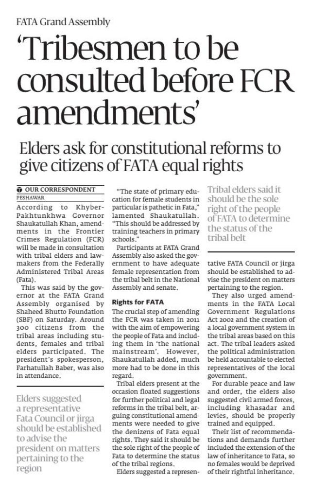 Tribesmen to be consulted before reforms (Express Tribune, 23 June 2013)