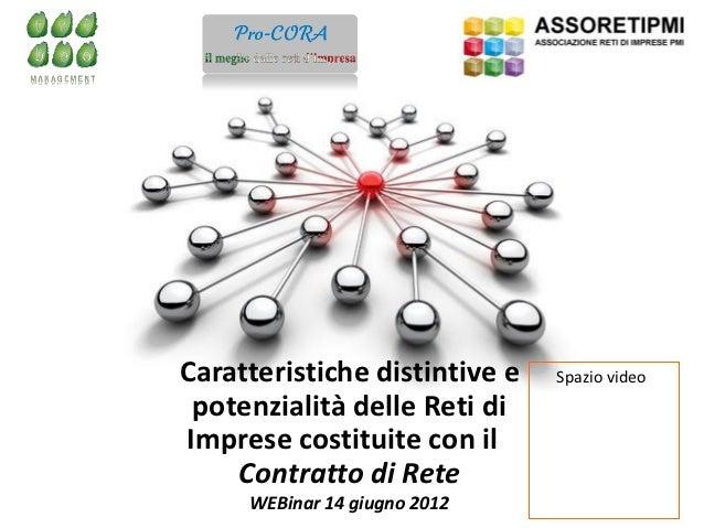 Caratteristiche distintive e Spazio videoCaratteristiche distintive e potenzialità delle         potenzialità delle Reti d...