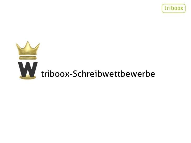 triboox-Schreibwettbewerbe