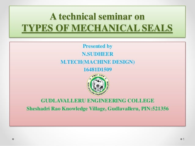 TYPES OF MECHANICAL SEALS
