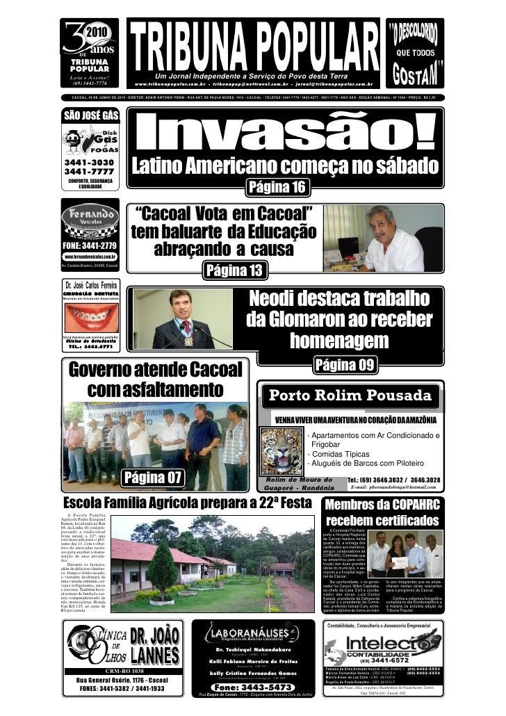 2010            DE                  anos      TRIBUNA      POPULAR      Leia e Assine!                               Um Jo...