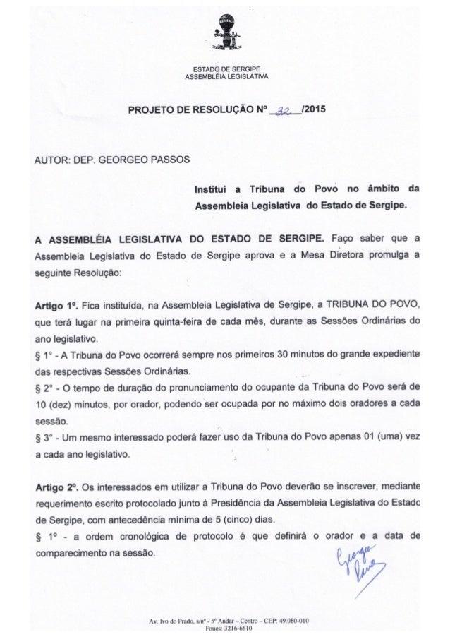 Projeto de resolução nº 32/2015