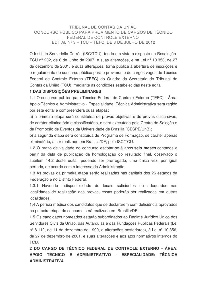 TRIBUNAL DE CONTAS DA UNIÃO  CONCURSO PÚBLICO PARA PROVIMENTO DE CARGOS DE TÉCNICO              FEDERAL DE CONTROLE EXTERN...