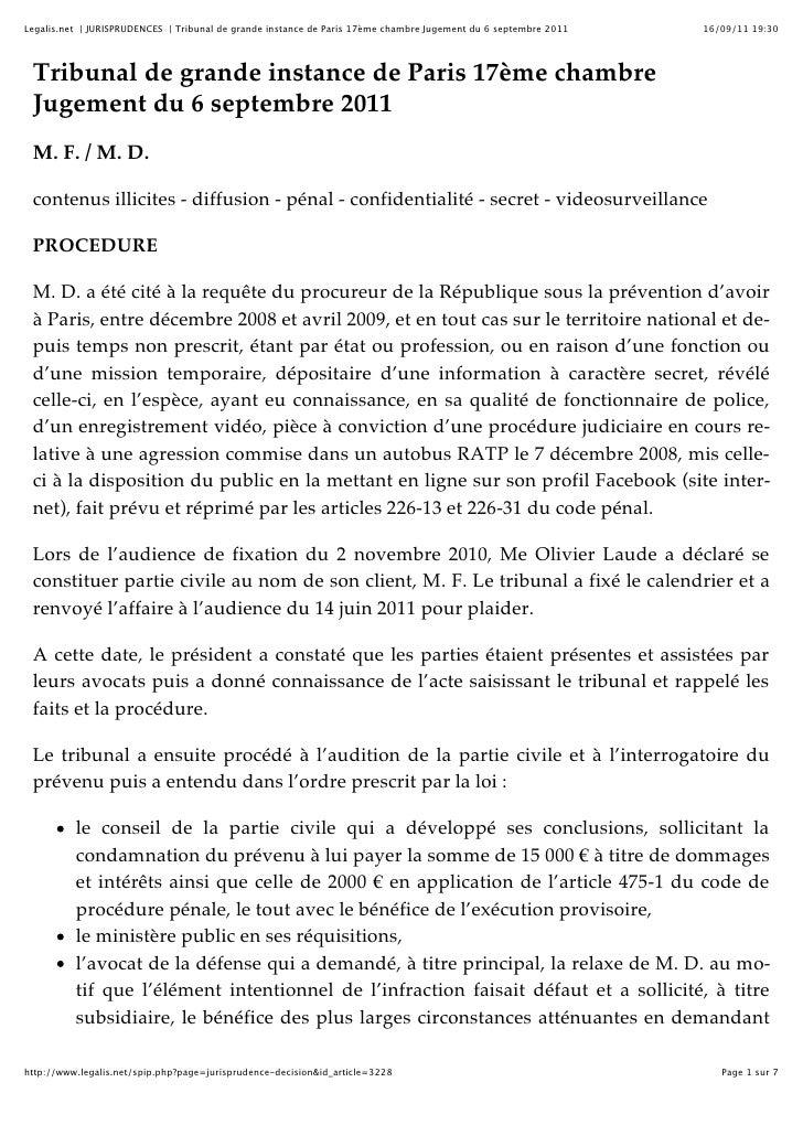 Legalis.net | JURISPRUDENCES | Tribunal de grande instance de Paris 17ème chambre Jugement du 6 septembre 2011   16/09/11 ...