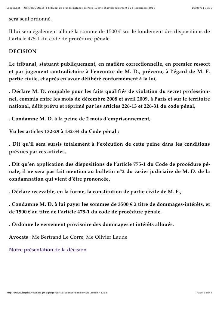 Tribunal de grande instance de paris 17 me chambre for Chambre correctionnelle paris