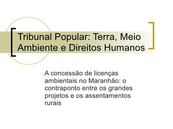 Tribunal Popular: Terra, Meio Ambiente e Direitos Humanos A concessão de licenças ambientais no Maranhão: o contraponto en...