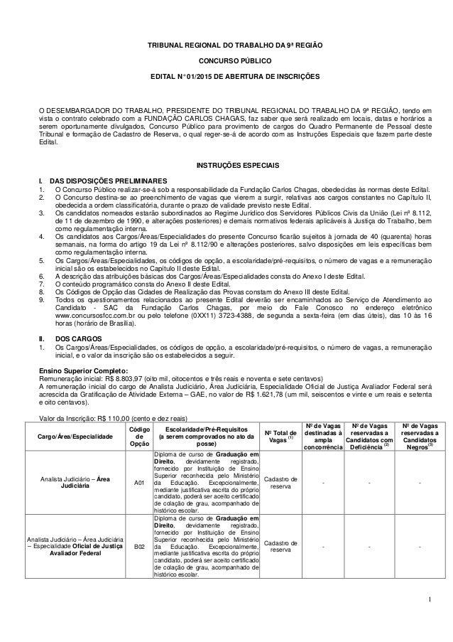 1 TRIBUNAL REGIONAL DO TRABALHO DA 9ª REGIÃO CONCURSO PÚBLICO EDITAL N°01/2015 DE ABERTURA DE INSCRIÇÕES O DESEMBARGADOR D...