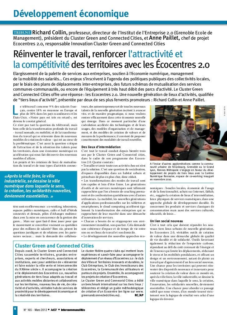Développement économique     TRIBUNE Richard Collin, professeur, directeur de lInstitut de lEntreprise 2.0 (Grenoble Ecol...