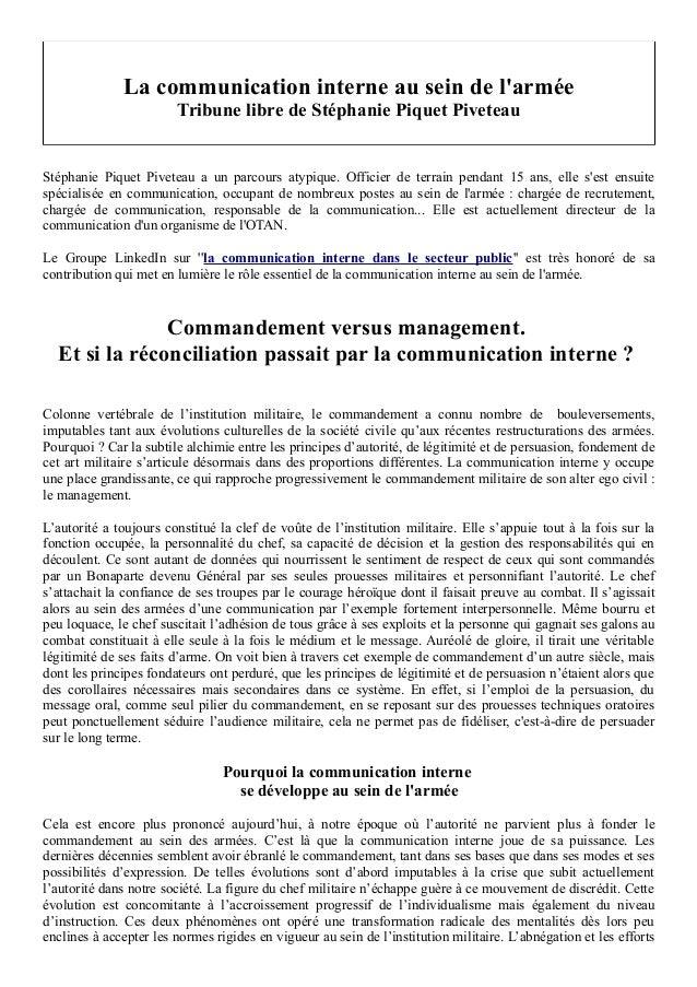La communication interne au sein de l'armée  Tribune libre de Stéphanie Piquet Piveteau  Stéphanie Piquet Piveteau a un pa...