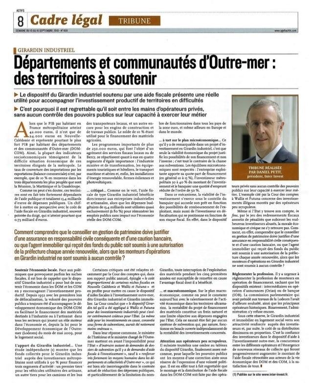 Tribune de daniel petit, president inter invest sur Agefiactifs