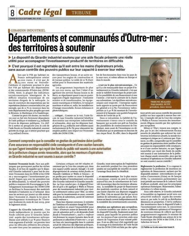 Tribune de Daniel Petit, Président inter invest sur agefiactifs
