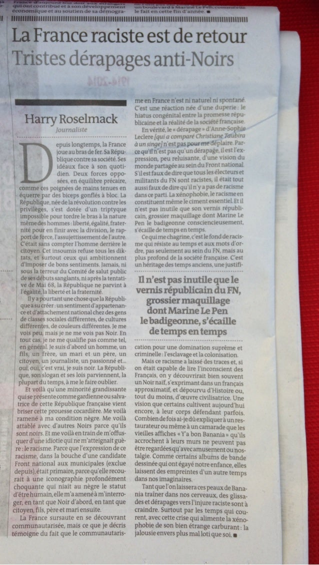 Harry roselmack: La France Raciste est de retour, LeMonde, 06 nov. 2013