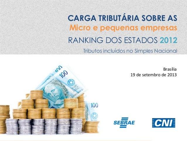 CARGA TRIBUTÁRIA SOBRE AS Micro e pequenas empresas RANKING DOS ESTADOS 2012 Tributos incluídos no Simples Nacional Brasíl...