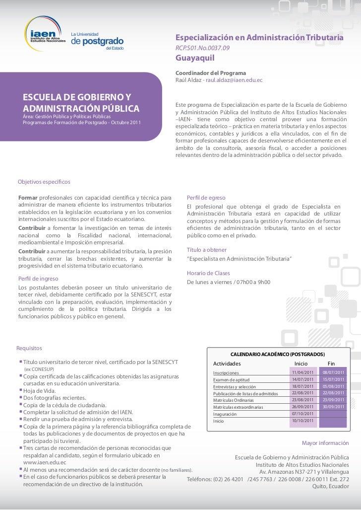 Especialización en Administración Tributaria                                                                  RCP.S01.No.0...