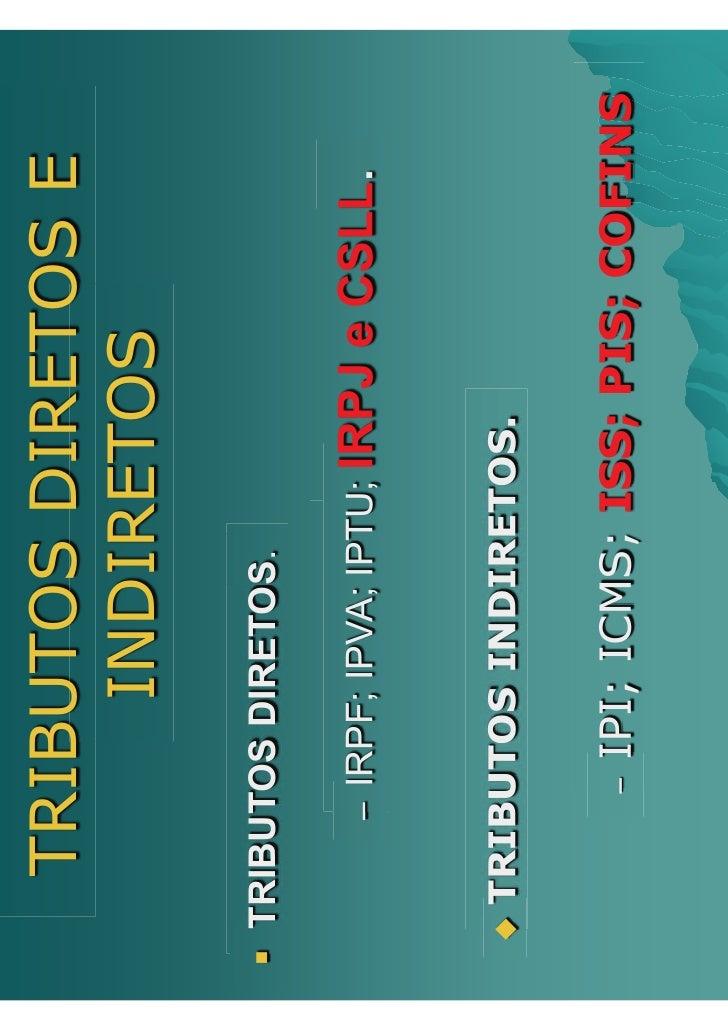 TRIBUTOS DIRETOS E           INDIRETOS ƒ TRIBUTOS DIRETOS.          – IRPF; IPVA; IPTU;   IRPJ e CSLL.   ‹   TRIBUTOS INDI...