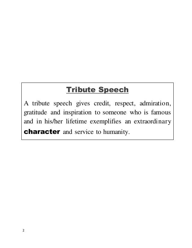 Tribute Speech Outline  BesikEightyCo