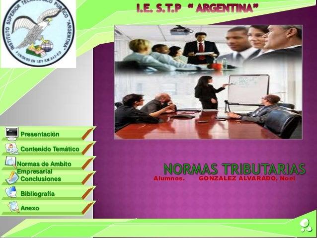 Alumnos. GONZALEZ ALVARADO, NoelContenido TemáticoNormas de AmbitoEmpresarialConclusionesBibliografíaAnexoPresentación