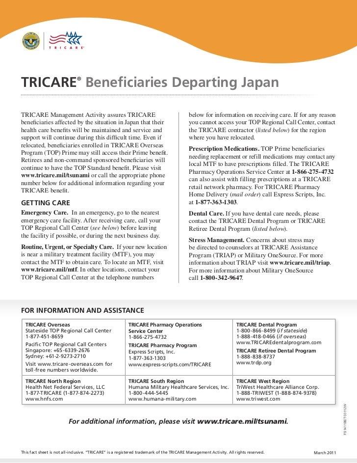 tricare beneficiaries departing japan fact sheet