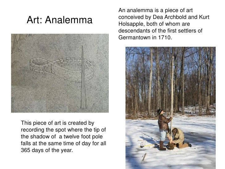 An analemma is a piece of art                                         conceived by Dea Archbold and Kurt   Art: Analemma  ...