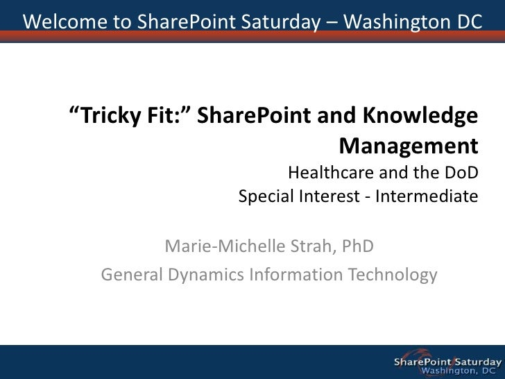 """Welcome to SharePoint Saturday – Washington DC<br />""""Tricky Fit:"""" SharePoint and Knowledge ManagementHealthcare and the Do..."""
