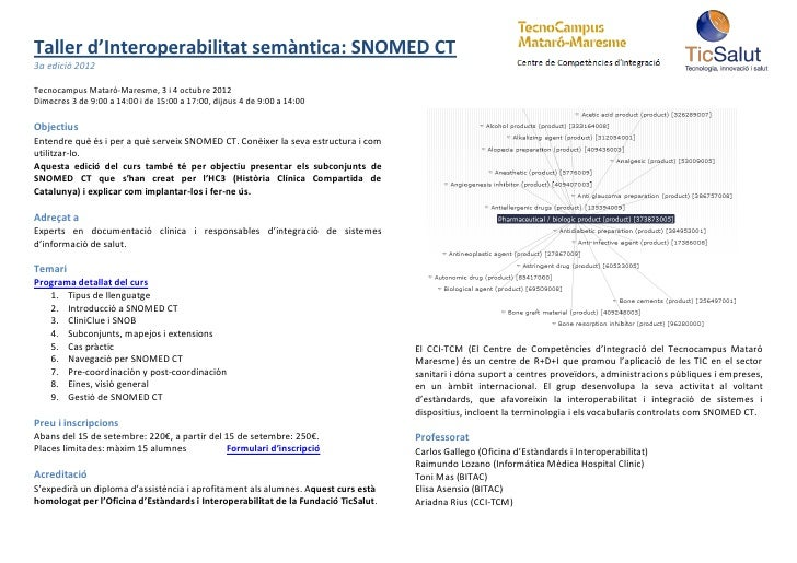 Taller d'Interoperabilitat semàntica: SNOMED CT3a edició 2012Tecnocampus Mataró-Maresme, 3 i 4 octubre 2012Dimecres 3 de 9...