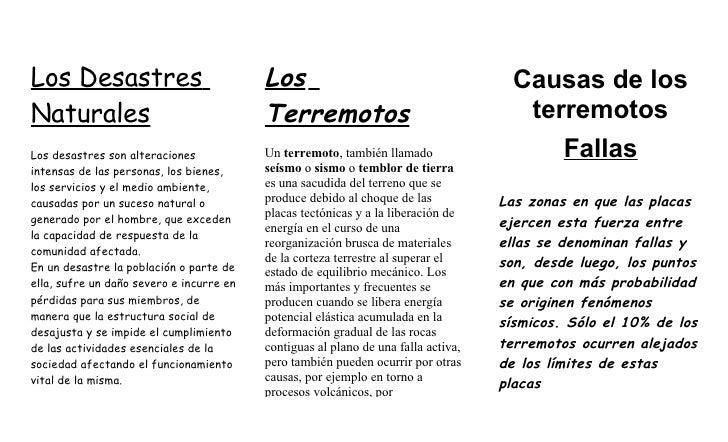 Los Desastres                             Los                                         Causas de los Naturales             ...