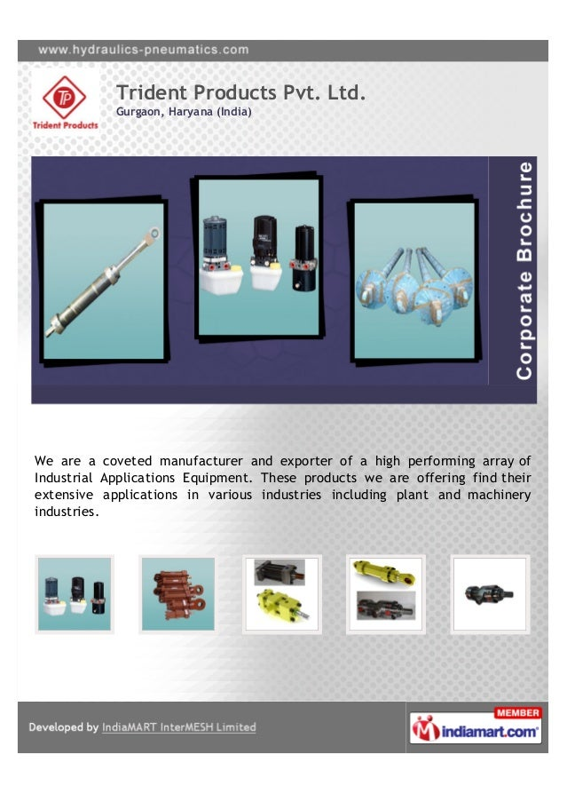 Trident Products Pvt. Ltd.            Gurgaon, Haryana (India)We are a coveted manufacturer and exporter of a high perform...