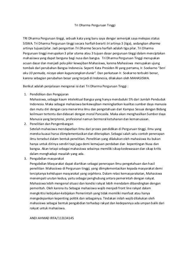 contoh essay tri dharma perguruan tinggi