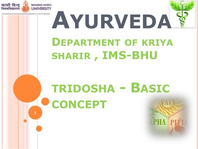 AYURVEDA DEPARTMENT OF KRIYA SHARIR , IMS-BHU TRIDOSHA - BASIC CONCEPT 1