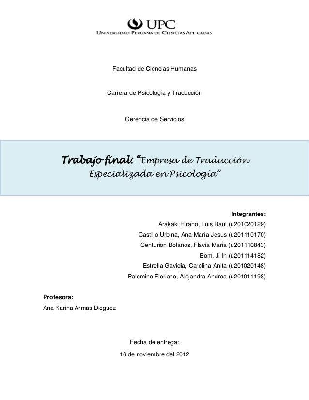 Facultad de Ciencias Humanas                     Carrera de Psicología y Traducción                            Gerencia de...