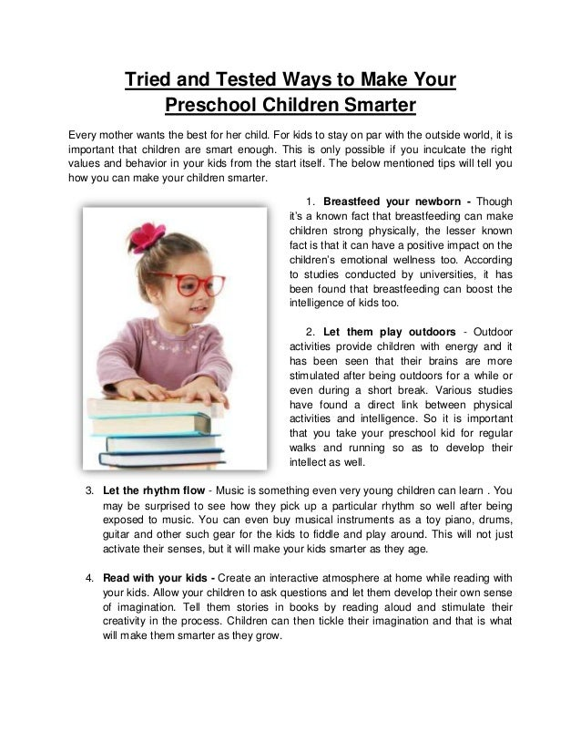 How Outdoors Makes Your Kids Smarter >> Tried And Tested Ways To Make Your Preschool Children Smarter