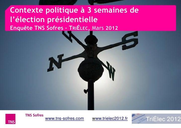 Contexte politique à 3 semaines del'élection présidentielleEnquête TNS Sofres – TRIÉLEC, Mars 2012            www.tns-sofr...