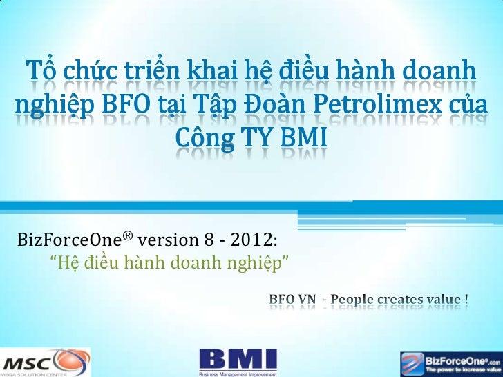 """BizForceOne® version 8 - 2012:    """"Hệ điều hành doanh nghiệp"""""""
