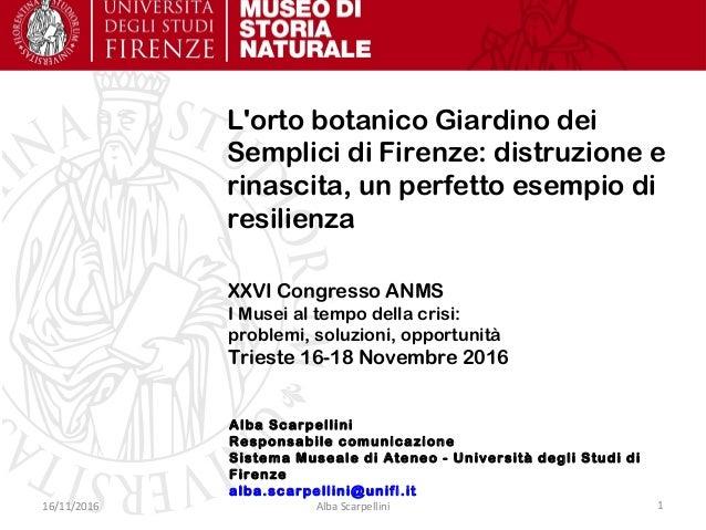 Alba Scarpellini Responsabile comunicazione Sistema Museale di Ateneo - Università degli Studi di Firenze alba.scarpellini...